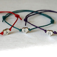 Sterling Silver Heart Initial Bracelet 24 colors by greenduckweed