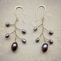 Freshwater Pearl Bloom Earrings // Wire Wrapped Gold Filled Branch Dangles