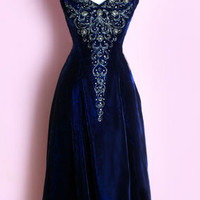 1950's Blue Velvet Beaded Dress Vintage evening dress gown blue velvet 50's 40's. :