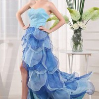 Find affordable Sheath/Column Sweetheart Organza Asymmetrical Tiered Evening Dress