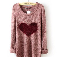 Wine Red Long Sleeve Love Heart Sweater