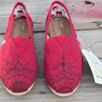 Hand Painted Toms Shoes  Red Mehndi Henna Design by solemateshoes