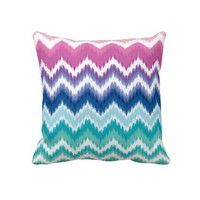 Ombre Ikat Chevron Throw Pillows from Zazzle.com