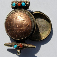 Bhutanese Coin Ghau Prayer Box Pendant with Inlaid Stones - WM75