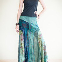 Unique Patchwork Butterfly Wide Leg Women Pants Light Weight Printed Crinkle Cotton Elastic Waist (PK-25)