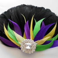 Prom Hair Accessory Feather Fascinator, Black, Purple, Yellow, Green, Colorful,