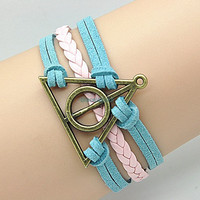 Antique Harry potter Deathly Hallows Bracelet,Pink Braided Leather Bracelet,women's cute bracelet, friendship gift  RZ0134