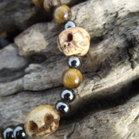 Magnetic Tiger - Tiger's Eye, Hematite and Tibetan Yak Bone Skull Beads Necklace