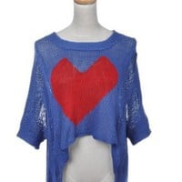 Amazon.com: Anna-Kaci Free Size Royal Blue Basic Lovely Heart Knitted Dolman Sleeve Blouse: Clothing
