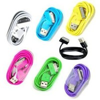 7 Pack - Sync Data Cable Cord for iPhone 4/4S/3G/iPod/ipad Aqua Blue/Black/Green/Hot Pink/Purple/Yellow/White
