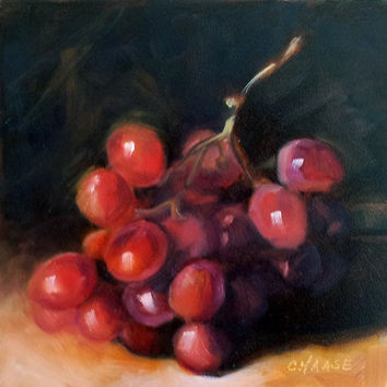 Red Grapes 6 x 6 Original Daily Oil Painting by LittletonStudio