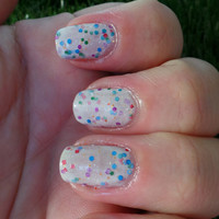 "Nail Polish - ""Flash Mob"" - White & multicolored glitter nail polish, 12ml"