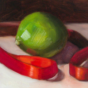 Lime and Red Ribbon 5 x 5 Oil by LittletonStudio on Etsy