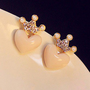 Cute rhinestone crown love earrings - Earrings