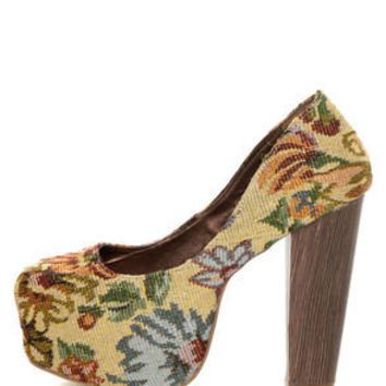 Shoe Republic LA Media Gold Floral Tapestry Platform Heels