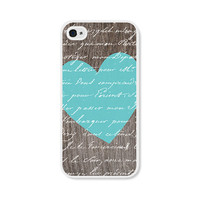 Heart iPhone 4 Case - iPhone 4 Cover - Wood iPhone Skin - Turquoise Blue Brown Valentine - Valentines Day