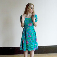 floral print dress / 1950s dress  / bright dress / short sleeved dress / high tea dress / mad men dress