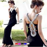 Sequins deepV black long prom/evening dress  from Girlsfriend