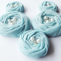 Blue Cotton Roses Handmade Appliques Embellishments(5 Pcs) | Luulla