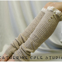 TAN Leg Warmers  Cashmere feel  ROOMIER FIT womens larger calves amazing softness Catherine Cole Studio legwarmers knit rib