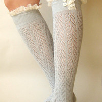 Lacey Sock - Dove Grey boot socks - open-knit socks - chevron herringbone patterned - boot socks - lace socks  (item no: 10-28)