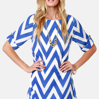 Can You Zig It? Blue Chevron Print Dress