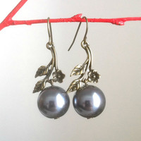 Grey Pearl Cherry Blossom Earrings
