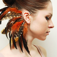 Feather Ear Cuff  Fire Tiger by Njuu on Etsy