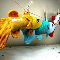 Plush Largemouth Bass Handmade with Upcycled Recycled by ArtTales