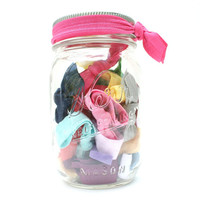 Ribbon Hair Tie (25) Mason Jar - Elastic Yoga Hairties, Bracelets - Mason Jar Gift for Kids, Teens, Women - Emi Jay Like Hair Accessories