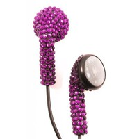 Purple (Black Cord) Crystal Rhinestone Earphones Earbuds with Microphone