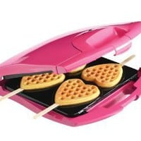 Babycakes Nonstick Waffle Maker Makes 4 Heart Waffles on Sticks