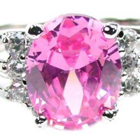 Oval Shape 1 Carat Pink Topaz, 1/2 Carat Simulated White Diamond Side Stone Accents Anniversary Ring, 925 Sterling Silver Band, Size 7