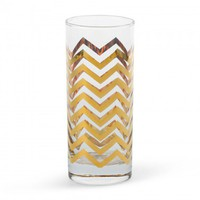C. Wonder | Golden Chevron Highball Glasses (Set of 4)