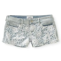 Crochet-Front Light Wash Denim Shorty Shorts