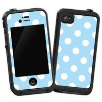 "White Polkadot on Baby Blue ""Protective Decal Skin"" for LifeProof 4/4S Case"