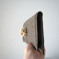 Winter Felt Clutch Natural Tones - Ready To Ship