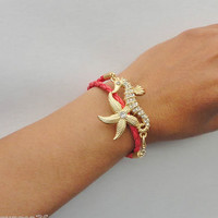 Wrap-Around Braided Leather Like Coral Bracelet Gold Seahorse And Rhinestone