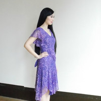 purple lace dress / 80s dress / vintage lace dress / short lace dress