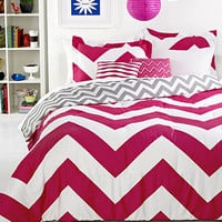 Chevron Pink 5 Piece Comforter Sets - Teen Bedding - Bed &amp; Bath - Macy&#x27;s