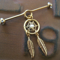 Golden Pearl Dream Catcher Industrial Piercing Barbell Feather Charm Dangle 14g 14 G Gauge Bar