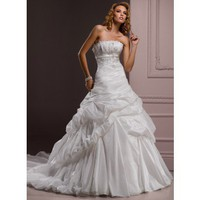 Scalloped-Edge Empire waist Ball Gown Taffeta wedding dress