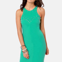 Aryn K Stud Zone Studded Teal Midi Dress