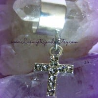 Rhinestone Cross Ear Cuff Direct Checkout Religious Jewelry