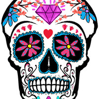 Sugar Skull temporary tattoo 8x6cm