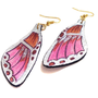 Butterfly wings leather earrings. Brown and fuchsia. Leather jewelry