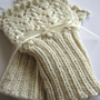 Knitted Cuffs Wristwarmers Fingerless Mitts ivory by SixSkeins