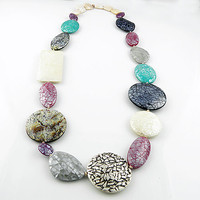 Kalidoscope Mosaic Mother of Pearl Pure Silver Necklace