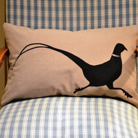 Pheasant Silhouette Cushion Cover by bluebellsandbunting on Etsy