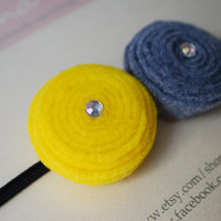 Double Felt Rosette Headband Pictured in Yellow by PosiesandPetals